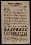 1952 Bowman #96  Ralph Branca  Back Thumbnail