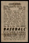 1952 Bowman #98  Jimmy Dykes  Back Thumbnail