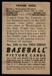 1952 Bowman #230  Frank Shea  Back Thumbnail