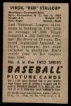 1952 Bowman #6  Virgil Stallcup  Back Thumbnail