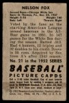 1952 Bowman #21  Nellie Fox  Back Thumbnail