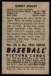 1952 Bowman #50  Gerry Staley  Back Thumbnail