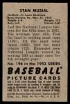 1952 Bowman #196  Stan Musial  Back Thumbnail