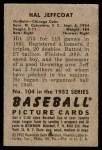 1952 Bowman #104  Hal Jeffcoat  Back Thumbnail