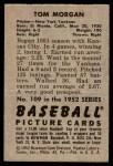 1952 Bowman #109  Tom Morgan  Back Thumbnail