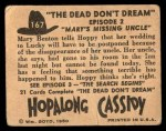 1950 Topps Hopalong Cassidy #167   Mary's missing uncle Back Thumbnail