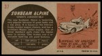 1961 Topps Sports Cars #37   Sunbeam Alpine Back Thumbnail