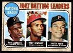 1968 Topps #1   -  Matty Alou / Roberto Clemente / Tony Gonzalez NL Batting Leaders Front Thumbnail