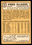 1968 Topps #229  Fred Klages  Back Thumbnail