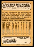1968 Topps #299  Gene Michael  Back Thumbnail