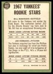1967 Topps #442   -  Bill Robinson / Joe Verbanic Yankees Rookies Back Thumbnail