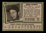 1971 Topps #220  Ron Santo  Back Thumbnail