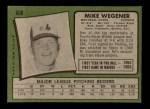 1971 Topps #608  Mike Wegener  Back Thumbnail