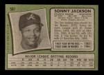 1971 Topps #587  Sonny Jackson  Back Thumbnail