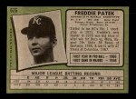 1971 Topps #626  Fred Patek  Back Thumbnail