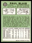 1967 Topps #319  Paul Blair  Back Thumbnail
