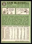 1967 Topps #295  Sam McDowell  Back Thumbnail