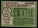 1978 Topps #345  Willie Hall  Back Thumbnail