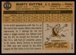 1960 Topps #516  Marty Kutyna  Back Thumbnail