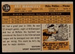 1960 Topps #138   -  Art Mahaffey Rookie Star Back Thumbnail
