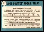 1965 Topps #143   -  Jerry May / John Gelnar Pirates Rookies Back Thumbnail