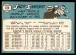 1965 Topps #228  Jack Sanford  Back Thumbnail