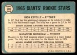 1965 Topps #282   -  Masanori Murakami / Dick Estelle Giants Rookies Back Thumbnail