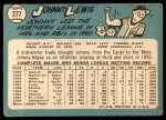 1965 Topps #277  Johnny Lewis  Back Thumbnail