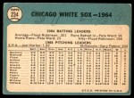 1965 Topps #234   White Sox Team Back Thumbnail