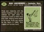 1969 Topps #117  Rudy Kuechenberg  Back Thumbnail