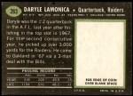 1969 Topps #263  Daryle Lamonica  Back Thumbnail