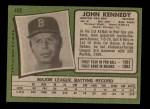 1971 Topps #498  John Kennedy  Back Thumbnail