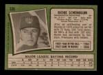 1971 Topps #326  Richie Scheinblum  Back Thumbnail