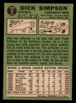 1967 Topps #6  Dick Simpson  Back Thumbnail