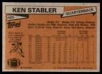 1981 Topps #405  Ken Stabler  Back Thumbnail
