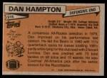 1981 Topps #316  Dan Hampton  Back Thumbnail
