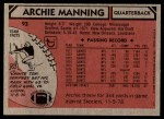 1980 Topps #93  Archie Manning  Back Thumbnail
