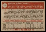1952 Topps #325  Bill Serena  Back Thumbnail
