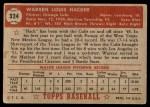 1952 Topps #324  Warren Hacker  Back Thumbnail