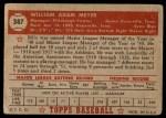1952 Topps #387  Billy Meyer  Back Thumbnail
