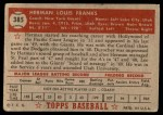 1952 Topps #385  Herman Franks  Back Thumbnail