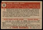 1952 Topps #381  Milton Stock  Back Thumbnail