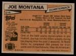 1981 Topps #216  Joe Montana  Back Thumbnail