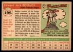 1955 Topps #195  Ed Roebuck  Back Thumbnail