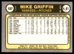 1981 Fleer #107  Mike Griffin  Back Thumbnail