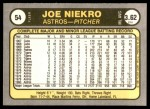1981 Fleer #54  Joe Niekro  Back Thumbnail