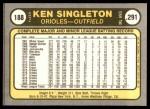 1981 Fleer #188  Ken Singleton  Back Thumbnail