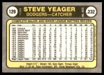 1981 Fleer #129  Steve Yeager  Back Thumbnail