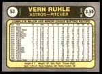 1981 Fleer #53  Vern Ruhle  Back Thumbnail