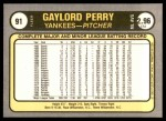 1981 Fleer #91  Gaylord Perry  Back Thumbnail